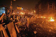 Anti-government protesters man barricades. The anti-government protests at Independence Square in #Kiev, #Ukraine