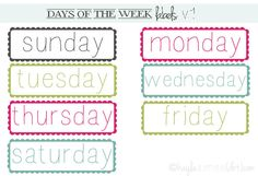 I made these date labels for my Week In The Life project. This set of free date labels comes with 4 .png files for digital scrapbooking. You can click here KA : Days Of The Week Labels (v1) to download them!
