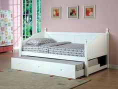 Furniture Of America Daybed W/ Twin Trundle In White [Cm1929Wh]