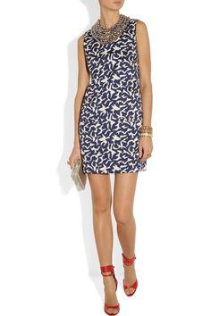 Diane von Furstenberg|Noralie embellished printed twill dress|NET-A-PORTER.COM