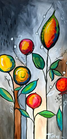 """vibrant colors, graphic / stylized flower buds and vines abstract painting--acrylic on 12""""x24"""" canvas...""""Red Buds"""" by Teresa McFayden $370"""