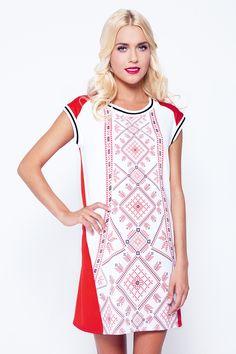 Ukrainian embroidery print in modern fashion Folk Fashion, Modern Fashion, Folk Embroidery, Embroidery Patterns, Fashion Photo, High Neck Dress, My Style, Folk Style, Stylish