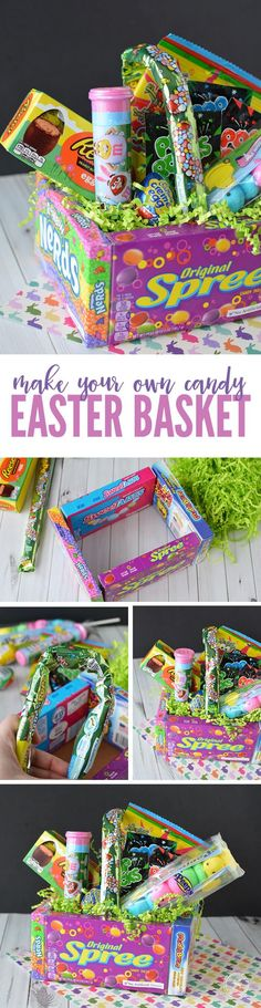 DIY Candy Easter Basket! An easy and creative way to make a FUN Easter Basket as a gift this year! These make a great Teacher Gift too! #easterdiy #easterhacks