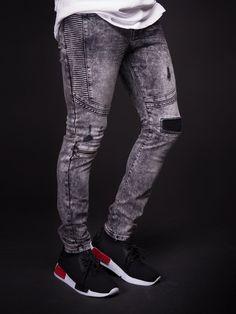 D&CO Men Ribbed Skinny Fit Side Ridges Distressed Ripped Motor Biker Jeans - Washed Light Black
