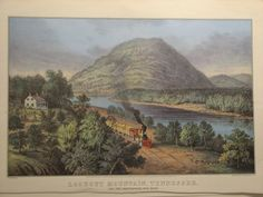 "TENNESSEE/"" COLOR Litho 1974 Vintage Currier /& Ives RAILROADS /""LOOKOUT MOUNTAIN"