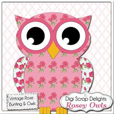 Owl Clip Art Vintage Rose Owls/ Bunting Cath by DigiScrapDelights
