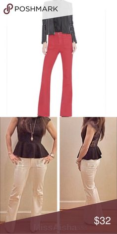 Red wide leg jeans Chic red Olivia wide leg jeans PLEASE Use the Poshmark new option you can purchase and it will give you the option to pick the size you want ( all sizes are available) BUNDLE and save 10% ( no trades price is firm unless bundled) Jeans Flare & Wide Leg