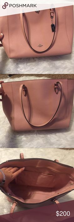 Large Blush Pink Coach Tote Lightly used!!! No marks, tears or damages. Minor wear on the inside bottom but no dramatic or permanent stains. Price is FIRM due to the large amount deducted from Poshmark. No trades Coach Bags Totes