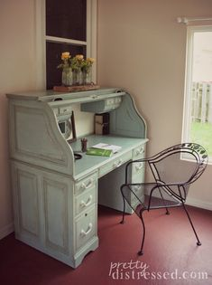 Oak roll top desk refinished with Duck Egg Blue Annie Sloan Chalk Paint®, heavily distressed and finished with Annie Sloan Clear Wax and Dark Wax