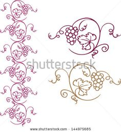 Decorative grapes & vine vector ornament border - stock vector
