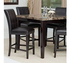 5-PC Counter Height Dining Set Espresso Wood Dinette Furniture 4 Stools Marble - http://home-garden.goshoppins.com/furniture/5-pc-counter-height-dining-set-espresso-wood-dinette-furniture-4-stools-marble/