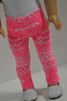 American Girl Doll Clothes Neon Pink Tribal Print Aztec Print Leggings 18 inch