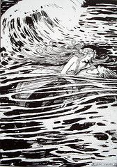 """She Carried Him Through the Waves"" illustrated by Helen Jacobs for The Little Mermaid from Hans Andersen's Fairy Tales"