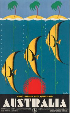 By Gert Sellheim (1901-1970, Australian), 1937, Great Barrier Reef, Queensland, Australia,  Color lithograph poster, 101 x 62.9 cm.