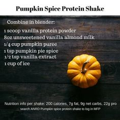 Well if you do love pumpkin spice then I have a great pumpkin spice protein shake for you to try! Let me know what you think and share with your friends and family! You can even find the macros in MFP! Tag me High Protein Smoothies, Healthy Protein Shakes, Protein Shake Recipes, Breakfast Smoothies, Vanilla Milk, Vanilla Protein Powder, Canned Pumpkin, Pumpkin Spice, Healthy Snacks List