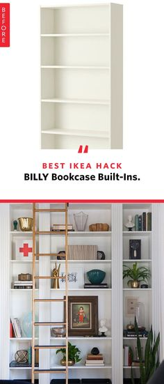 This might be the greatest IKEA hack of all time. The iconic BILLY bookcase got a DIY upgrade to become a fantastic, classic looking built-in with molding and great artistic touches