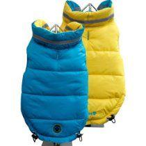FouFou Dog Fou Ski Parka Dog Coat, Teal/Yellow, 3X-Large