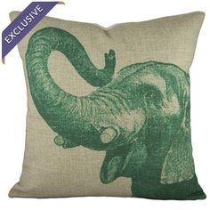 Cotton and linen-blend pillow with a elephant motif.  Product: PillowConstruction Material: Linen blend...