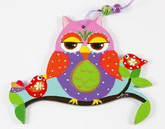 Handpainted Wooden Folk Art Owl Decoration Object, Original Ornament. $36,00, via Etsy.