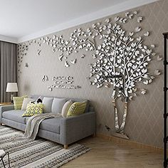 Online Shop # Big Tree Wall Murals for Living Room Bedroom Sofa Backdrop TV Background Wall Stickers Home Art Decorations Wall Stickers Living Room, Wall Design, Room Decor, Living Room Decor, Acrylic Wall Decor, Wall Decor Living Room, Tree Wall Murals, Ceiling Design, Living Room Designs