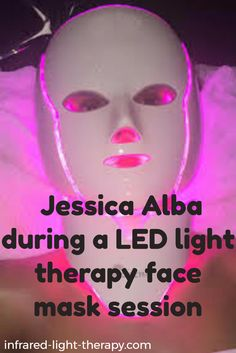 Jessica Alba during a LED light therapy face mask session - check it up in the post:  http://www.infrared-light-therapy.com/led-light-therapy-face-masks/
