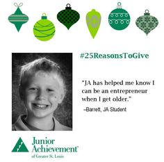 Reason #14: #JA helps students, like Barrett, realize their full potential. To help support us as we reach even more students, visit http://www.fundJA.org/. #25ReasonsToGive
