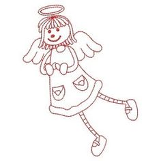 Redwork Stick Angel Girls 7 - 3 Sizes! | What's New | Machine Embroidery Designs | SWAKembroidery.com Ace Points Embroidery
