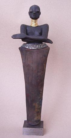 Afrikanerin - Raku-Statue