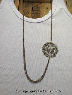 Collier mi long chaîne et estampe couleur bronze : Collier par la-fabrique-de-lea-et-zoe