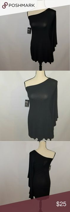"Date Night Must-have black one shoulder flowy sleeve dress! Size M  length:27"" waist:15"" NOWT Express Dresses Midi"