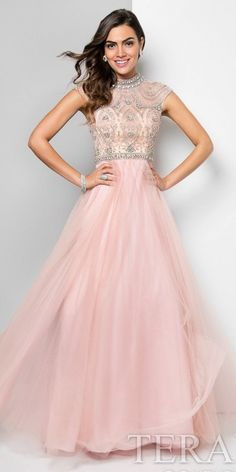 An obsession for detail this, blush and nude a-line cap sleeve beaded tulle prom dress by Terani Couture. The striking details include a bejeweled high neckline and cap sleeves, illusion fitted bodice with beading, tulle a-line skirt, covered back with beading. #edressme