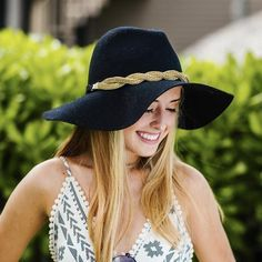 91058eb02f7f08 Brittany Hat Band- a little bit of Gold transforms this hat into something  fantastic!