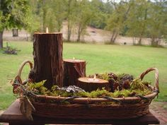 Moss centerpiece with log candle holders from etsy seller.