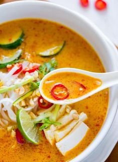 Laksa is a classic comfort food from many Asian countries like Malaysia and Singapore. This version is made with coconut milk and a homemade laksa paste made from red chili, garlic, ginger, cashew nuts, and lime. Get the recipe.