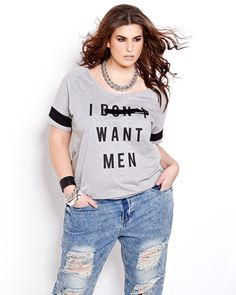 You will have fun wearing this sporty tee! Short sleeve, plus size top with athletic trims and crew neckline. 28 inch length. Dare to flirt in this T-shirt!