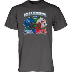 Memphis Tigers vs. Western Kentucky Hilltoppers Blue 84 2016 Boca Raton Bowl Dueling T-Shirt - Charcoal - $18.99