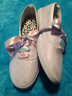 Cascada Bella Designs Women's White Ice Glitter Pastels Plimsolls (Pink, Blue, And Lilac Satin Ribbon Laces) · Cascada Bella Designs · Online Store Powered by Storenvy
