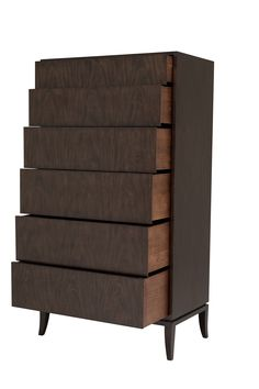 Byron Tall Chest Six drawers. Champagne nickel hardware.