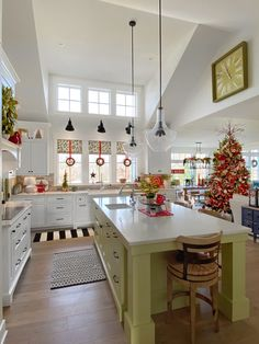 Welcome to Our Christmas Home 2019 - I so glad you are here! Come take a peek at our cottage style home all decorated for Christmas, inside and out. Rustic Country Kitchens, Rustic Kitchen, Kitchen Decor, Kitchen Design, Christmas Interiors, Christmas Room, Christmas Kitchen, White Christmas, Christmas Decorations For The Home