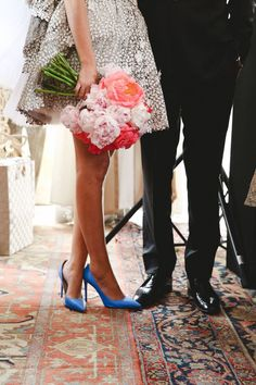 Blue wedding shoes, a peony bouquet, and a non traditional dress! #wedding