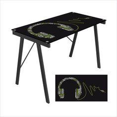 Lumisource - Lumisource Headphone Graphic Top Exponent Desk in Black - Black