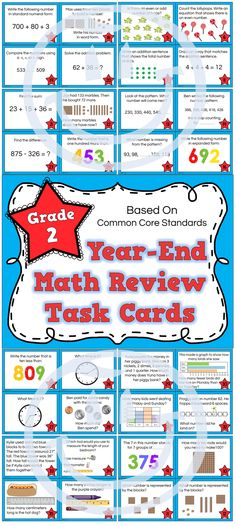 2nd Grade Math Review - 44 task cards based on Common Core Math Standards