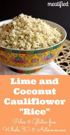 Lime & Coconut Cauliflower Rice! Can't wait to try this one out on my coworkers too they love the garlic ginger cauliflower rice!! Served this with Egg Masala.