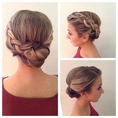 bridesmaid hair with flower crown + bun | hair by goldplaited