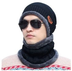 8cd72d5d19de6 Epic Cool Knitted Wool Beanie Hat Cap with Neck Warmer Winter Warm Black