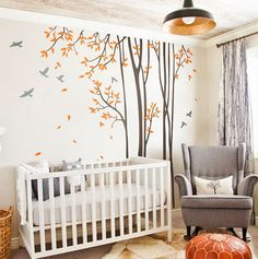 Huge Birds Trees Forest Wall Arts Nursery Kids Decals Baby Decor Gifts