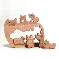 Cutout cat (set wood) | toys, dolls | gun's | handmade mail order and sales Creema