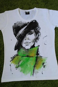 Woman Hat Green Tshirt. Face drawing handpainted by palettePandora