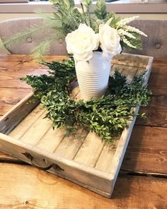 Large Wooden Whitewashed Tray Wooden Serving Tray