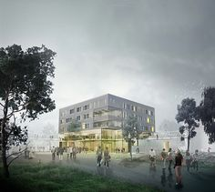 NTNU i Gjøvik Campus. Ferdig i løpet av høsten 2017.  Illustrasjon: Reiulf Ramstad Arkitekter AS